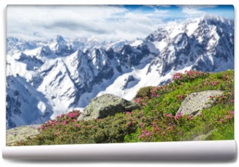 Fototapeta - Beautiful flowers with Alps mountains.