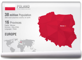 Fototapeta - Poland world map with a pixel diamond texture.