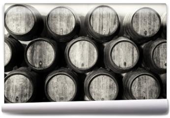 Fototapeta - Whisky or wine barrels in black and white