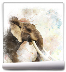 Fototapeta - Watercolor Image Of  Elephant