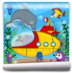 Fototapeta - animals on submarine - vector  illustration, eps