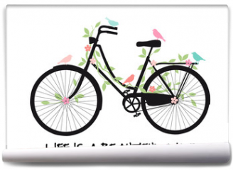 Fototapeta - Vintage bicycle with birds and flowers, vector