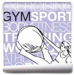 Fototapeta - Pilates illustration of woman stability ball gym fitness yoga