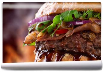 Fototapeta - Tasty burger, close-up.