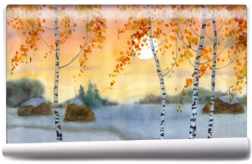 Fototapeta - Birches in snowy field