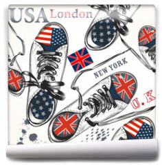 Fototapeta - Fashion seamless pattern with sports boots decorated by British