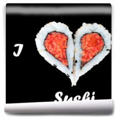 Fototapeta - I love sushi concept with two pieces of sushi forming heart shap