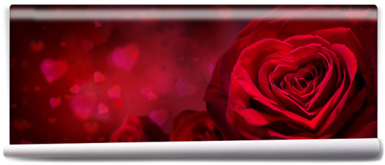 Fototapeta - valentine invitation with hearts and red roses