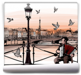 Fototapeta - Accordionist playing on Pont des arts in Paris