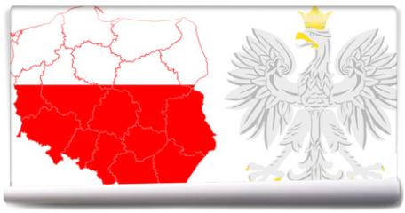 Fototapeta - województwa i godło Polski
