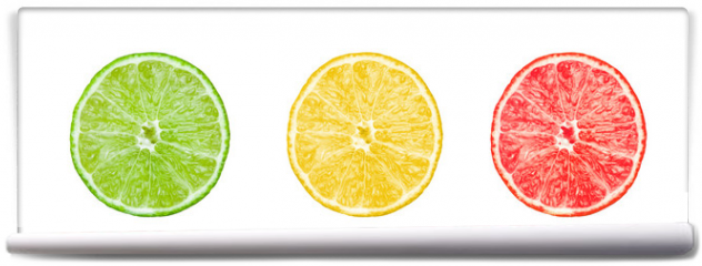 Fototapeta - Collection of citrus slices -  lemon, lime and grapefruit