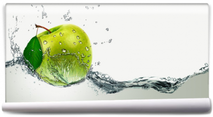Fototapeta - Green Apple amid splashing water.