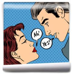 Fototapeta - dispute men and women no Yes pop art comics retro style Halftone