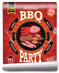 Fototapeta - Vintage BBQ party menu poster design
