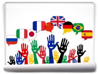 Fototapeta - mains bulles : apprendre les langues étrangères