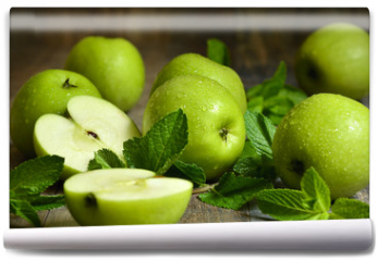 Fototapeta - Green apples with mint leaves.
