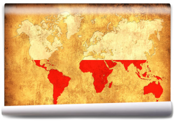 Fototapeta - The flag of Poland in the outline of the world map