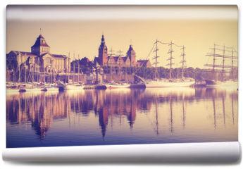 Fototapeta - Vintage style sailing ships at sunrise in Szczecin.