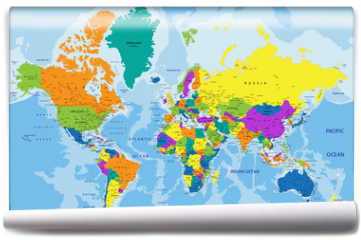 Fototapeta - Colorful World political map with clearly labeled, separated layers. Vector illustration.