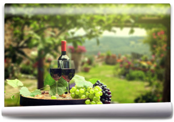 Fototapeta - Red wine with barrel on vineyard in green Tuscany, Italy