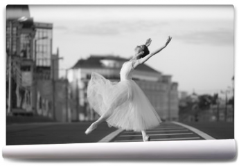 Fototapeta - Ballerina dancing in the center of Moscow in the morning