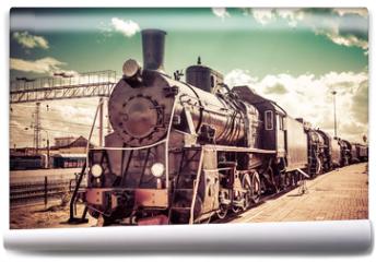 Fototapeta - Old steam locomotive, vintage train.