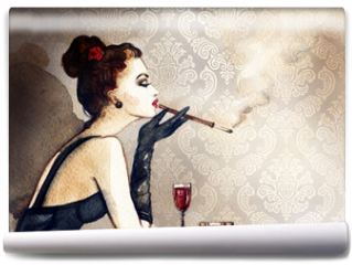 Fototapeta - Retro woman portrait with cigarette . watercolor illustration