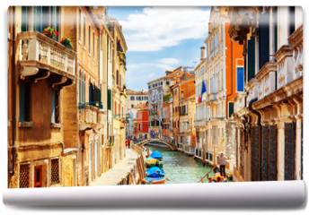 Fototapeta - View of the Rio Marin Canal from the Ponte de la Bergami. Venice