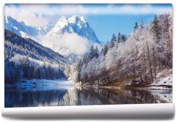 Fototapeta - Winter landscape with lake and reflection