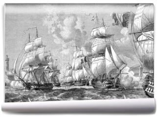 Fototapeta - Admiral stallion with his squadron strength of the entrance floo