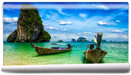 Fototapeta - Long tail boats on beach, Thailand