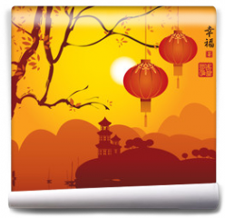 Fototapeta - landscape with Pagoda on mountains, tree branch and Chinese lanterns. Hieroglyphs Happiness
