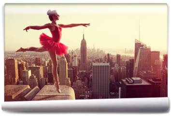 Fototapeta - Ballet Dancer in front of New York Skyline