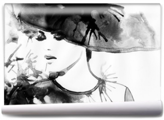 Fototapeta - Beautiful face. woman portrait with hat. abstract watercolor .fashion background