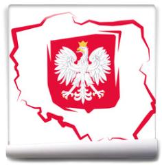Fototapeta - Mapa Polski z godłem