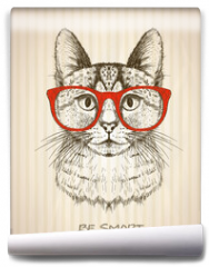 Fototapeta - Vintage graphic poster with hipster cat with red glasses.