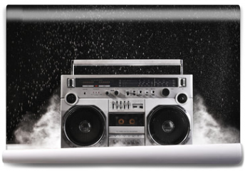 Fototapeta - 1980s Silver Retro ghetto blaster and dust isolated on black wit