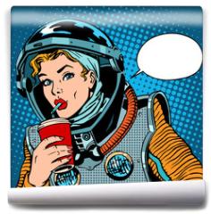 Fototapeta - Female astronaut drinking soda