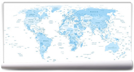 Fototapeta - Detailed World Map blue colors