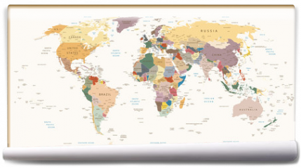 Fototapeta - Highly Detailed Political World Map Vintage Colors