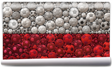 Fototapeta - National Flag of the Republic of Poland Soccer Balls Mosaic Illustration Design Concept