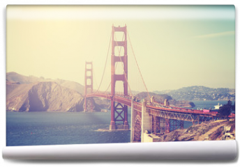 Fototapeta - Vintage toned picture of the Golden Gate Bridge, San Francisco.