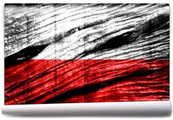 Fototapeta - Poland Flag painted on old wood texture