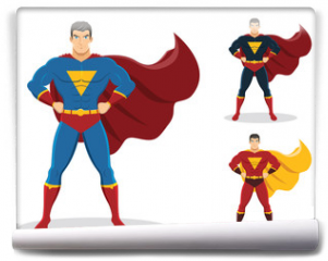 Fototapeta - Superhero standing with cape waving in the wind. On the right are 2 additional versions. No gradients used.