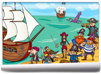 Fototapeta - pirates with ship cartoon