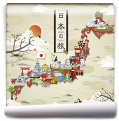 Fototapeta - Japan travel map design
