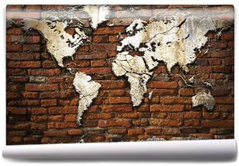 Fototapeta - Kamienna mapa świata