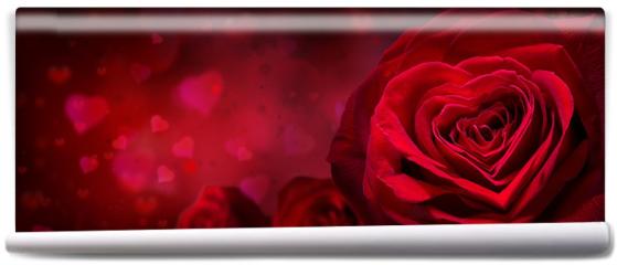 Fototapeta - Motyw walentynkowy z różami i kwiatami