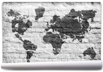 Fototapeta - Biała ściana i zdjęcie mapy świata
