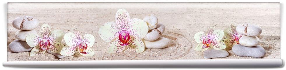 Fototapeta - Panorama z orchideami i kamieniami zen w piasku